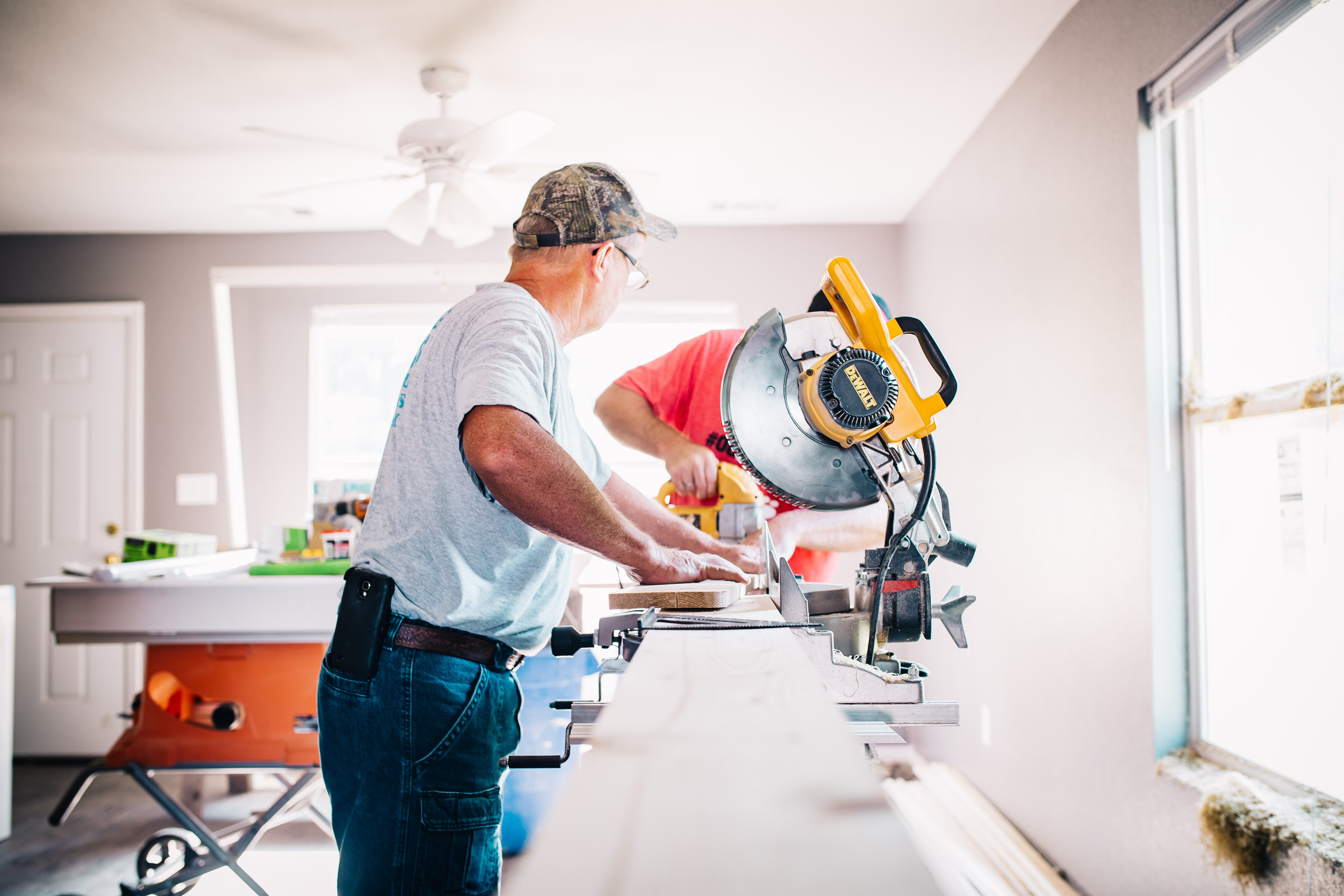 Home interior construction workers